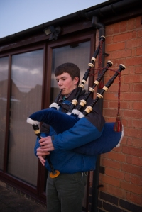 Brendan on the bagpipes