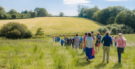 A farm walk with interested locals in the lower fields at Week /Huxhams Cross Farm